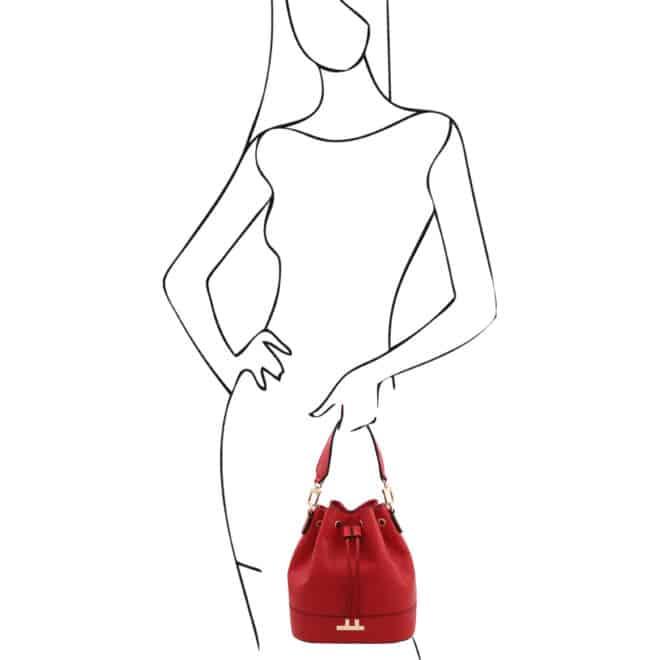 leren damestas TL bag 83 rood handtas