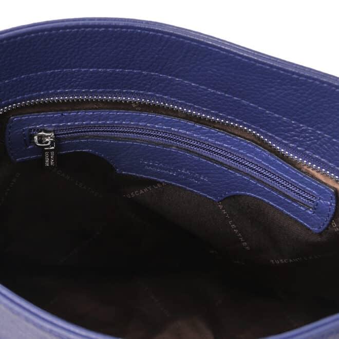 leren damestas tl bag 87 blauw vak met rits