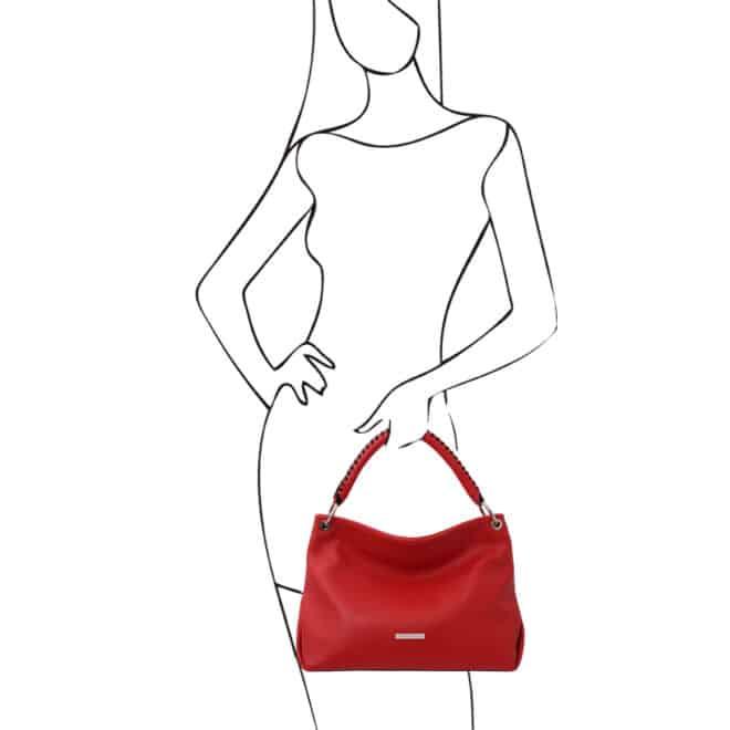leren damestas tl bag 87 rood handtas