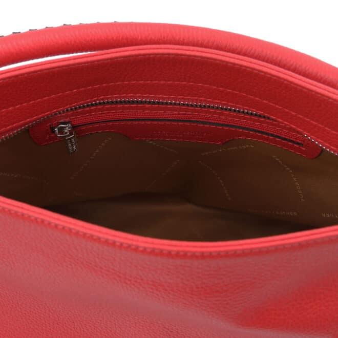 leren damestas tl bag 87 rood vak met rits