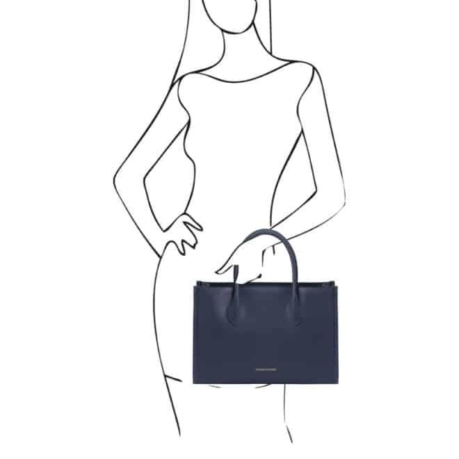 leren damestas Letizia donkerblauw handtas