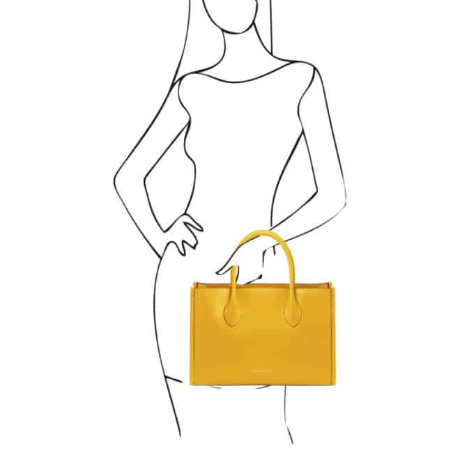 leren damestas Letizia geel handtas