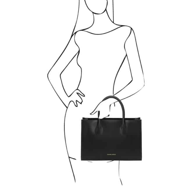 leren damestas Letizia zwart handtas