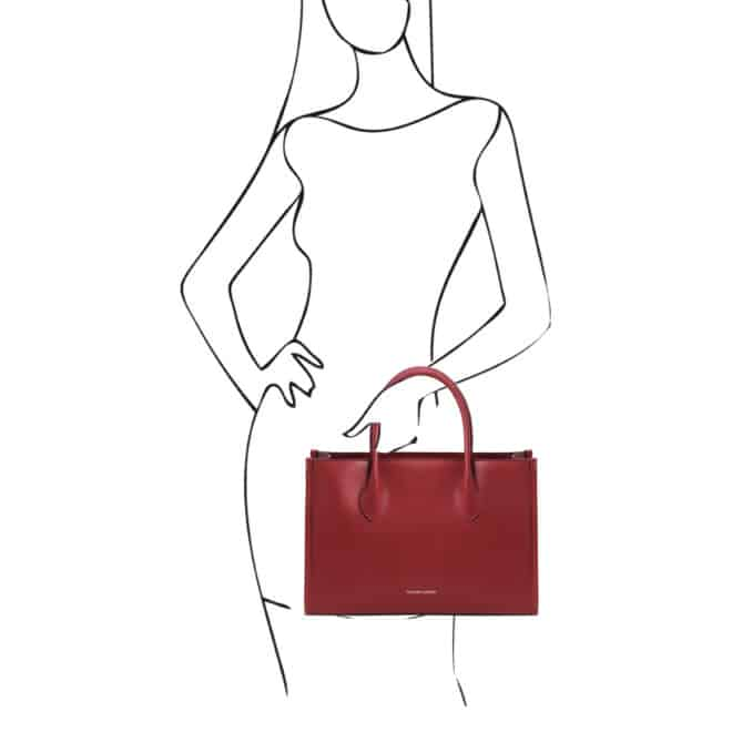 leren damestas Letizia rood handtas