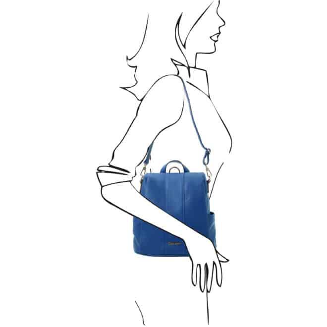 leren dames rugzak tl bag 38 blauw schoudertas