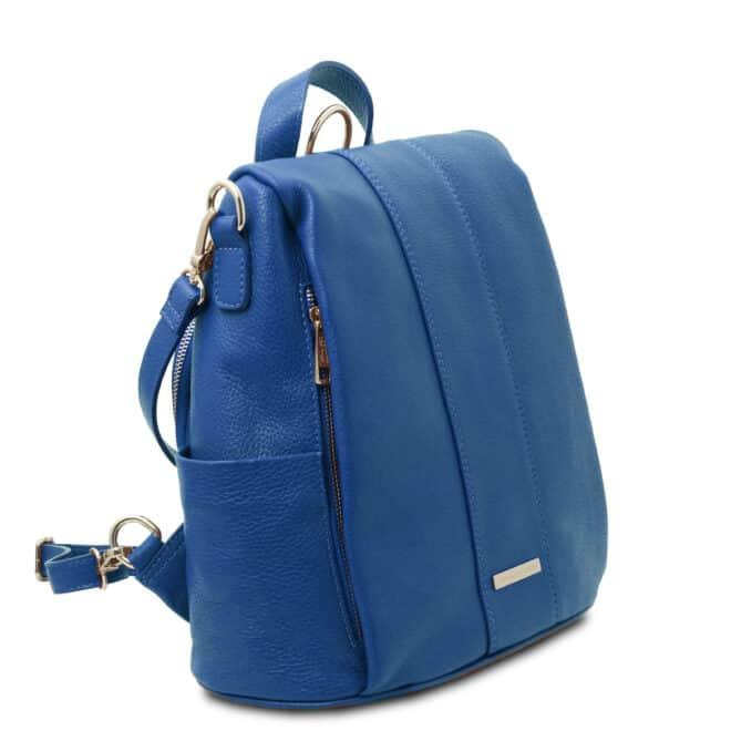 leren dames rugzak tl bag 38 blauw zijkant