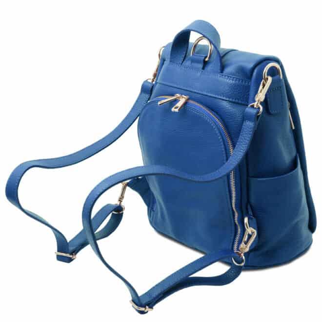 leren dames rugzak tl bag 38 blauw vak met rits achterkant
