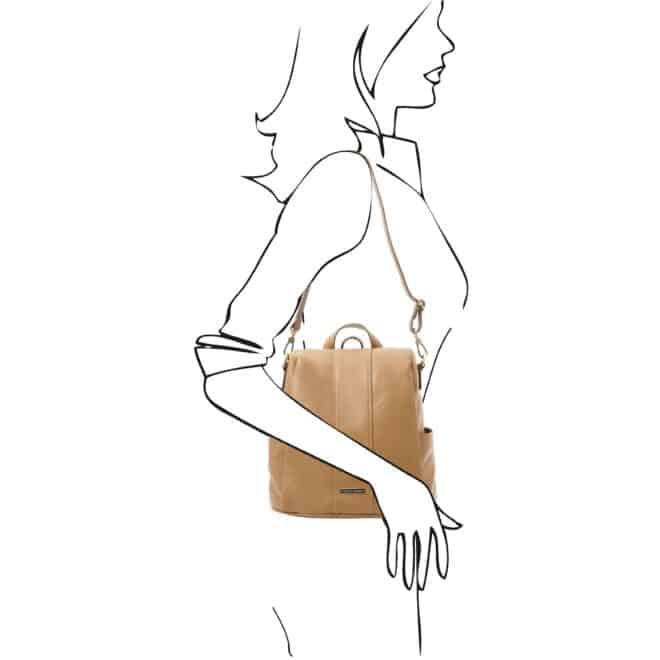 leren dames rugzak tl bag 38 champagne schoudertas