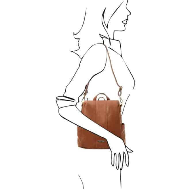 leren dames rugzak tl bag 38 cognac schoudertas