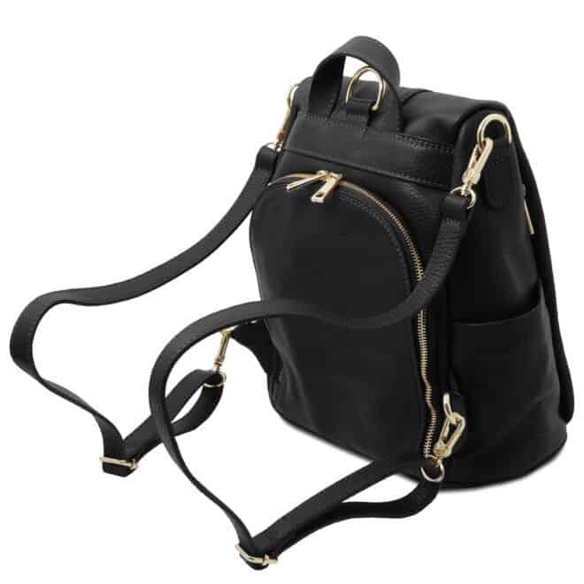 leren dames rugzak tl bag 38 zwart vak met rits achterkant