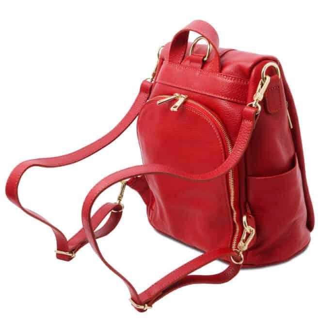 leren dames rugzak tl bag 38 rood vak met rits achterkant