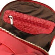 leren dames rugzak tl bag 38 rood vak met rits binnenkant