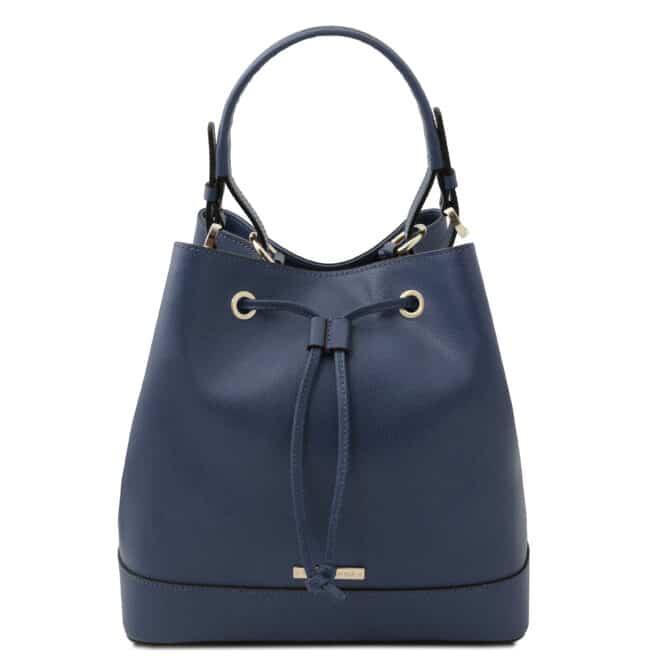 leren damestas Minerva donkerblauw voorkant