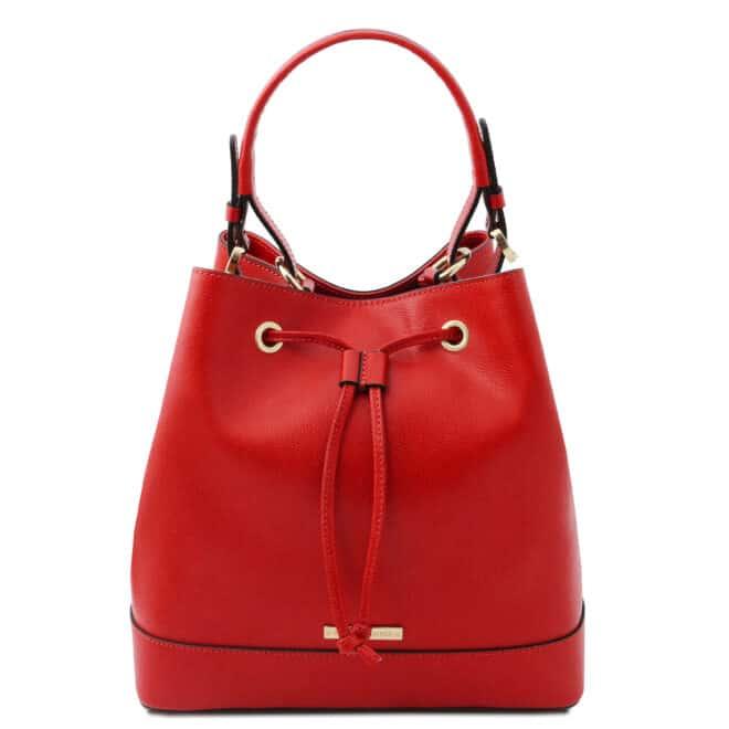 leren damestas Minerva rood voorkant