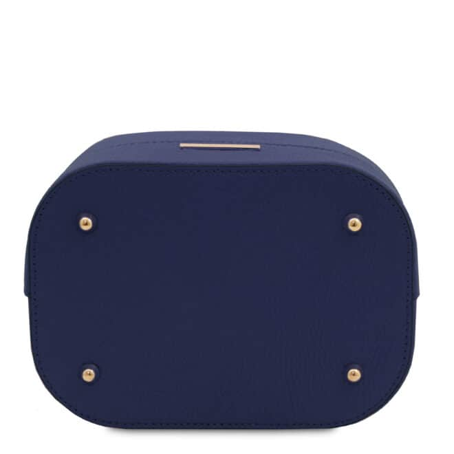 leren damestas TL bag 46 donkerblauw onderkant