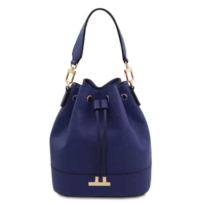 leren damestas TL bag 46 donkerblauw voorkant