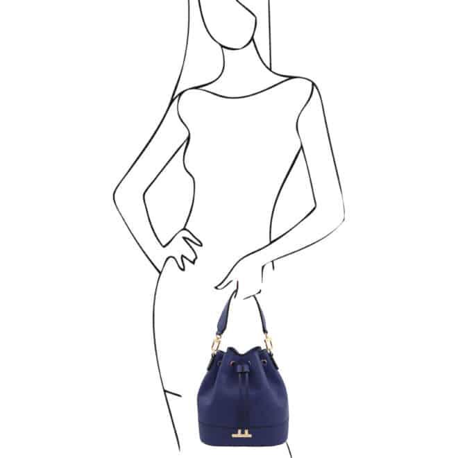 leren damestas TL bag 46 donkerblauw handtas