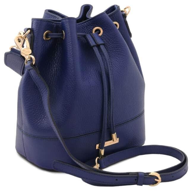 leren damestas TL bag 46 donkerblauw zijkant