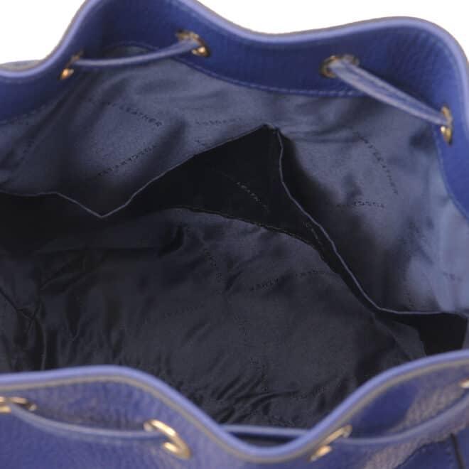 leren damestas TL bag 46 donkerblauw open vakken aan de binnenkant van de tas