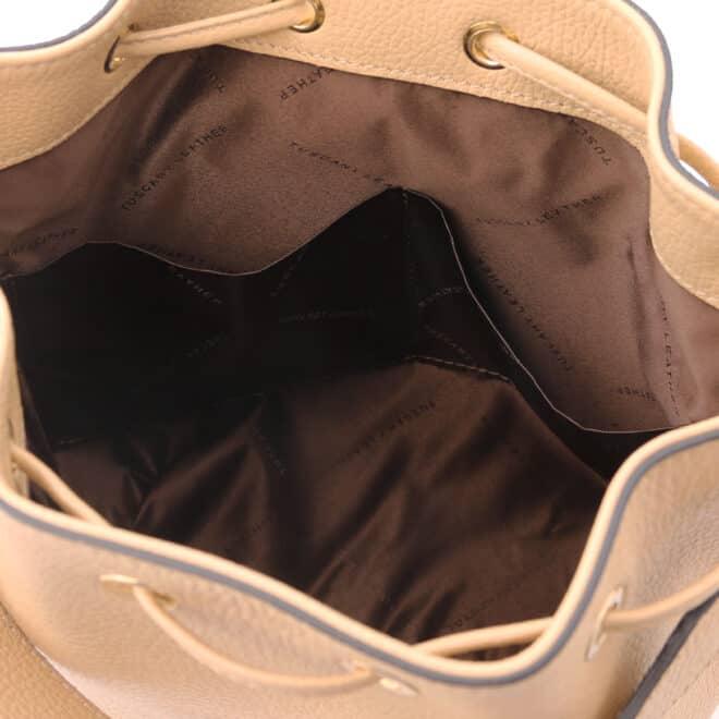 leren damestas TL bag 46 champagne open vakken aan de binnenkant van de tas