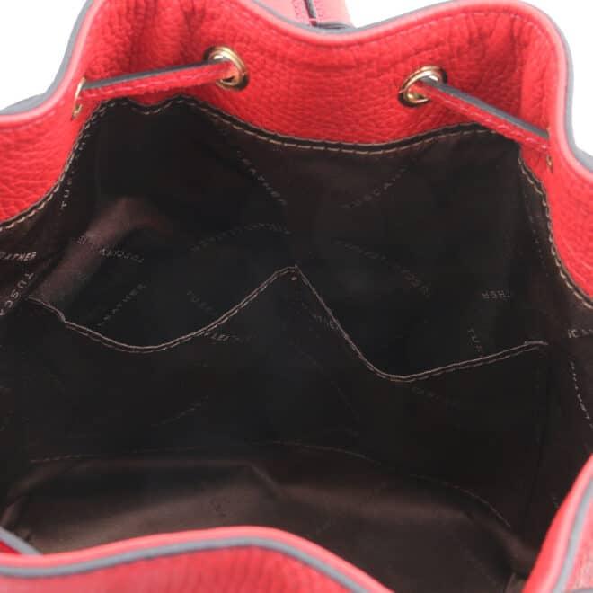 leren damestas TL bag 46 rood open vakken aan de binnenkant van de tas