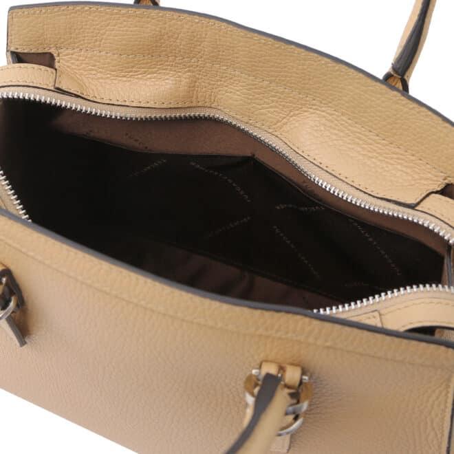 leren damestas tl bag 47 champagne open vakken aan de binnenkant
