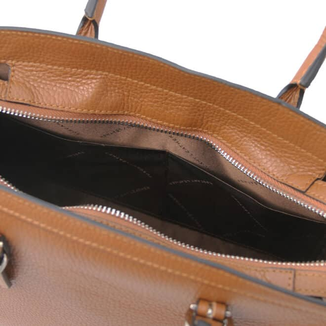 leren damestas tl bag 47 cognac open vakken aan de binnenkant
