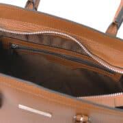 leren damestas tl bag 47 cognac vak met rits aan de binnenkant