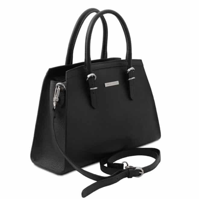 leren damestas tl bag 47 zwart zijkant