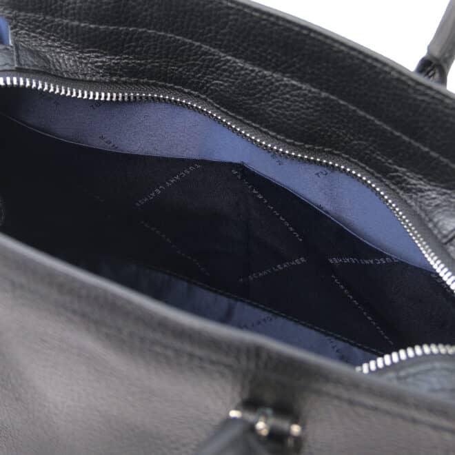 leren damestas tl bag 47 zwart open vakken aan de binnenkant