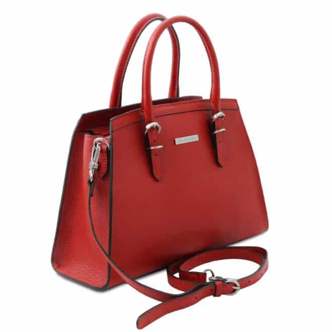 leren damestas tl bag 47 rood zijkant