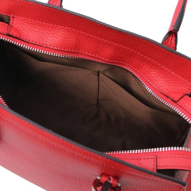 leren damestas tl bag 47 rood open vakken aan de binnenkant