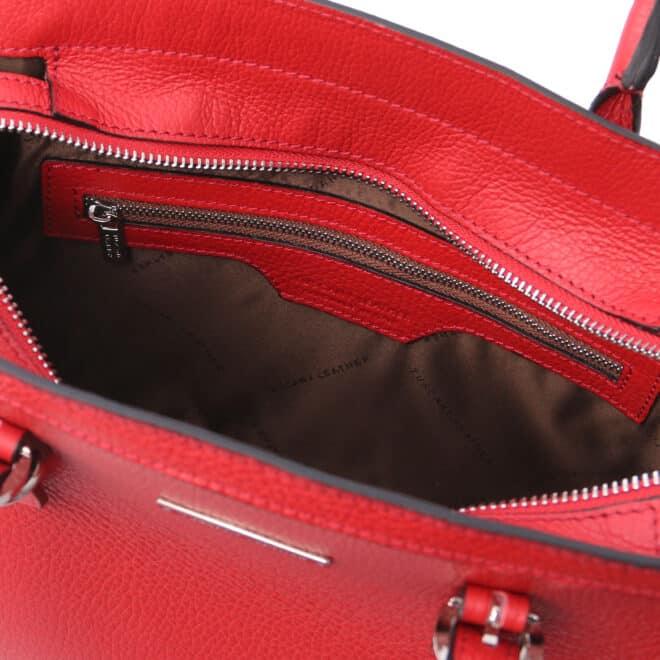 leren damestas tl bag 47 rood vak met rits aan de binnenkant