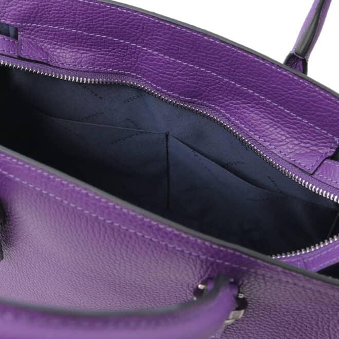leren damestas tl bag 47 paars open vakken aan de binnenkant