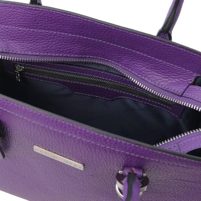leren damestas tl bag 47 paars vak met rits aan de binnenkant
